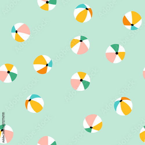 Seamless pattern with colorful beach balls. Vector summer vacation repeat design. Wall mural