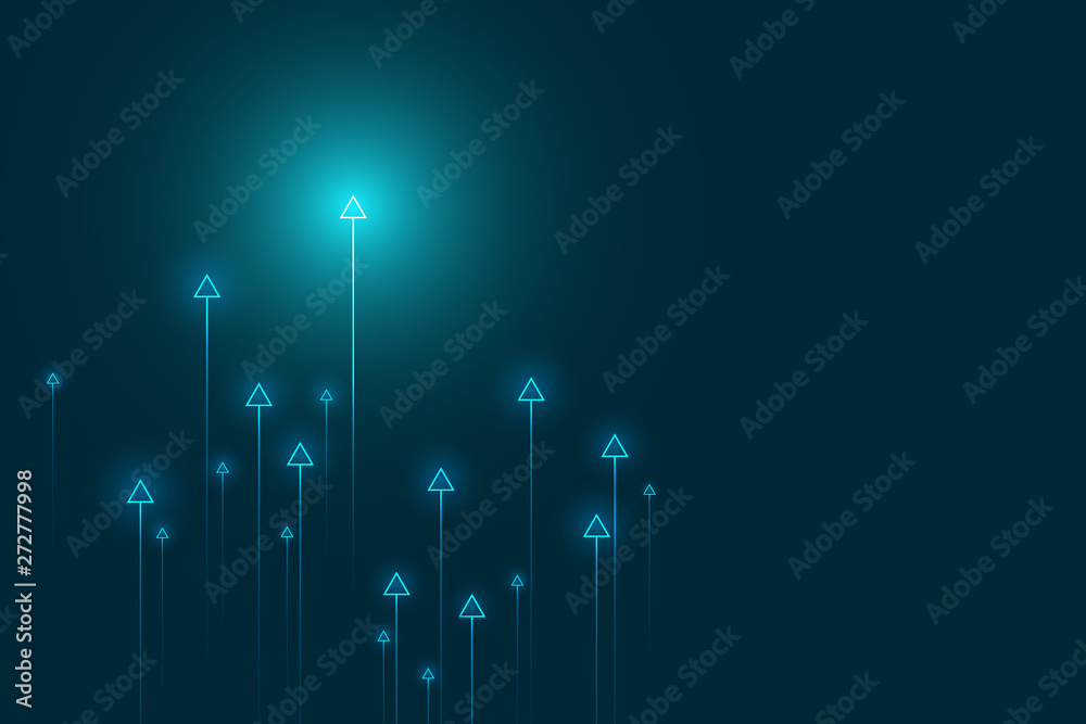 Fototapety, obrazy: Up arrows on blue background illustration vector for business and finance, copy space composition, minimalist style, growth concept.