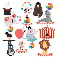 Lovely Circus Characters Cartoon Festival Set
