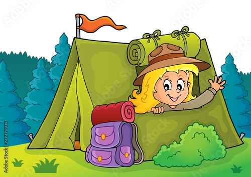 Wall Murals For Kids Scout girl in tent theme 2