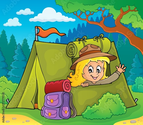 Montage in der Fensternische Für Kinder Scout girl in tent theme 3