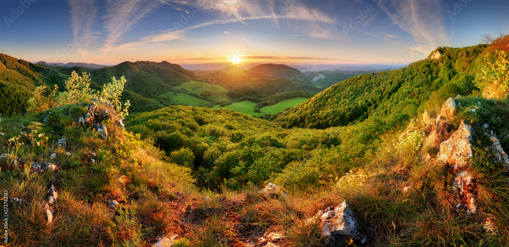 Fototapety, obrazy: Spring mountain landscape panorama with forest and sun