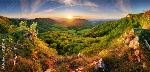 Fototapeta Spring mountain landscape panorama with forest and sun obraz
