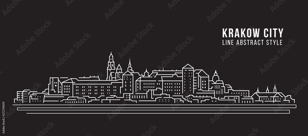 Obraz Cityscape Building Line art Vector Illustration design -  Krakow city fototapeta, plakat