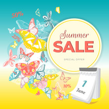 Summer Sale Banner With Colorf...