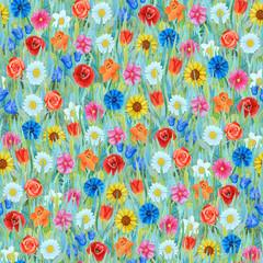 Seamless flowers pattern: daffodil, tulip, chamomile, poppy, cornflower, sunflower, bluebell, rose on the grass.