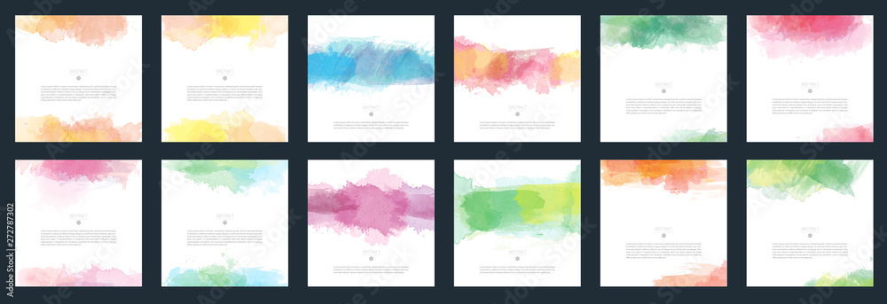 Fototapety, obrazy: Big set of vector light colorful watercolor background for poster, brochure or flyer
