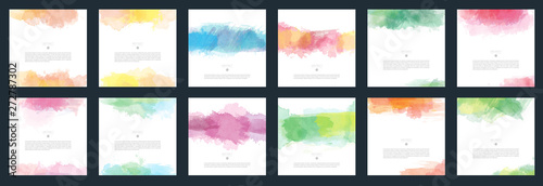 Obraz Big set of vector light colorful watercolor background for poster, brochure or flyer - fototapety do salonu