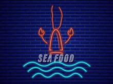 Lobster Neon Vector Icon. Fresh Glowing Symbol Templates