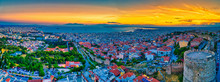 Aerial View Of The Old Byzantine Castle In The City Of Thessaloniki , Greece.