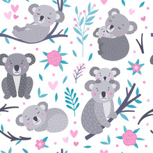 Seamless Koala Pattern. Cute Vector Background With Koala Bears And Floral Elements