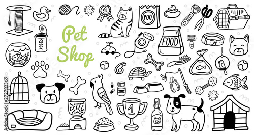 Cute Pets Stuff And Supply Icons Set In Doodle Style Vet Symbol