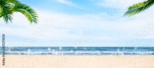Photo  leerer sandstrand mit palmen unscharfer hintergrund