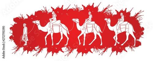 Fotografering  Cameleer with caravan camels cartoon graphic vector