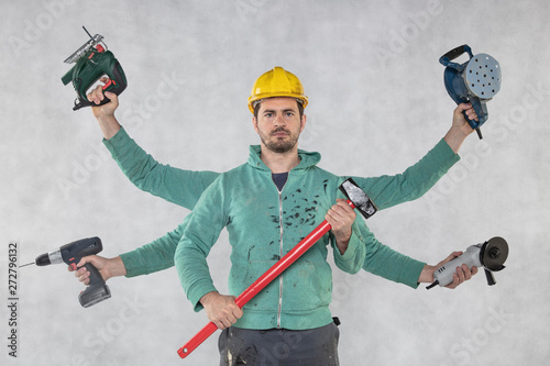 Fotografie, Obraz  handyman is ready for assigned tasks