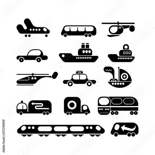 Foto op Plexiglas Abstractie Art Transport vector icon set