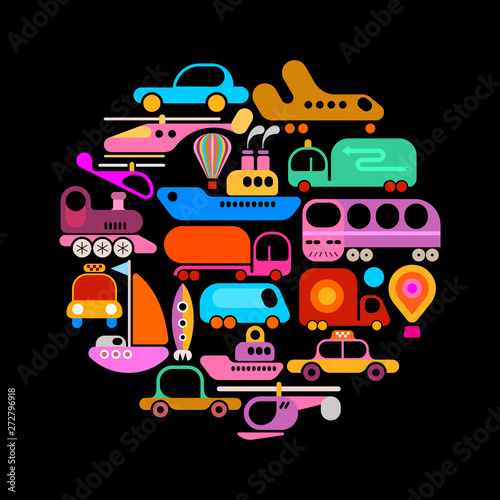 In de dag Abstractie Art Transportation round shape vector design