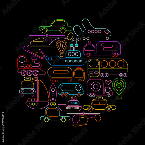 Foto op Plexiglas Abstractie Art Transportation round neon vector design