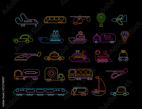 Foto op Plexiglas Abstractie Art Transport neon vector icons