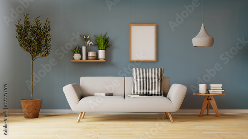 Fotografija  Modern living room interior with sofa and green plants,lamp,table on living