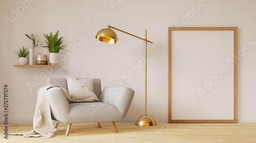 Modern living room interior with sofa and green plants,lamp,table on living Fototapeta