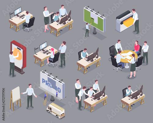 Advertising Agency Isometric Icons Set Wallpaper Mural