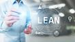 Leinwandbild Motiv Lean, Six sigma, quality control and manufacturing process management concept on virtual screen.