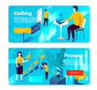 Vector set of bright banner templates with man coding application and girl with presentation in office. With place for your text.