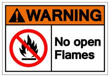 Warning No Open Flames Symbol Sign ,Vector Illustration, Isolate On White Background Label. EPS10