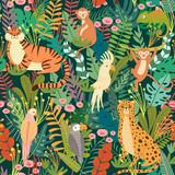 Fototapeta Fototapety na ścianę do pokoju dziecięcego - Seamless pattern with tropical animals and bird in jungle. Exotic animals, birds, plants. Monkey, leopard, tiger, parrot, toucan, chameleon. Vector illustration backgrounds.