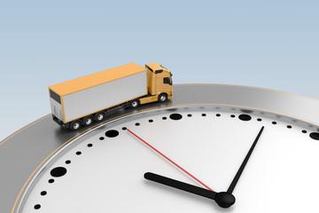 truck rides around edge clock