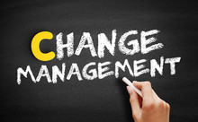 Change Management Text On Blackboard, Business Concept Background