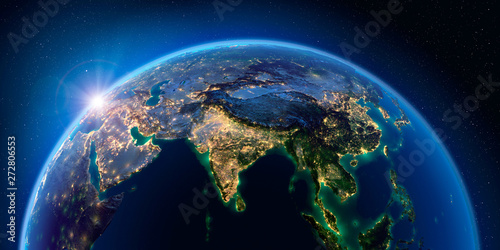 Earth at night and the light of cities. India. South-east Asia. Wallpaper Mural