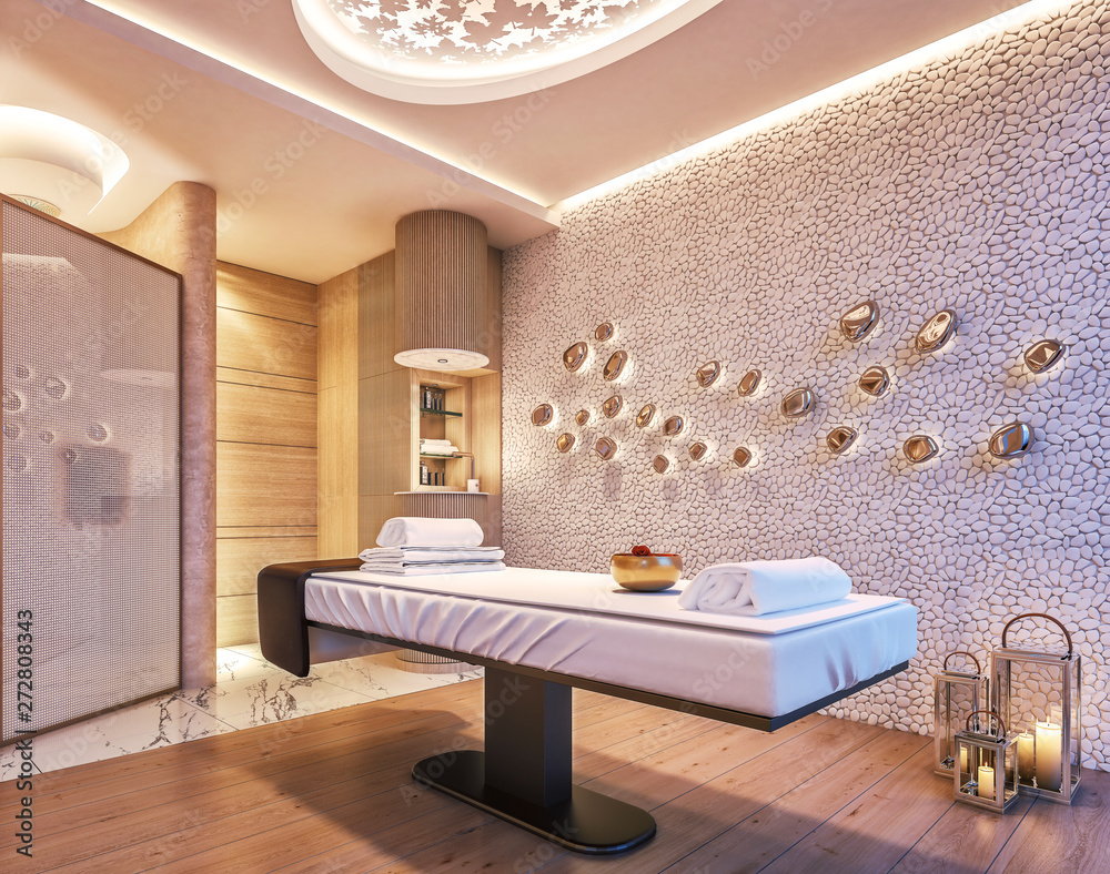 Fototapeta Modern interior design of Spa, Sauna, concept of fine living, relaxation, 3d rendering