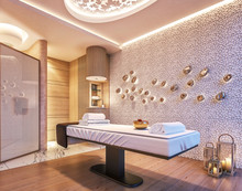 Modern Interior Design Of Spa, Sauna, Concept Of Fine Living, Relaxation, 3d Rendering