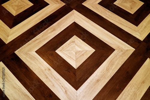 Fototapeta Dark and light brown geometric pattern wooden floor for abstract background  obraz na płótnie