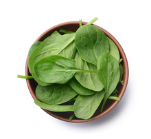 Bowl With Fresh Spinach On White Background