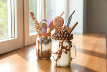 Delicious Freak Shakes On Table