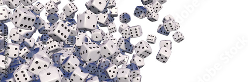 Foto Flying white dices, isolated