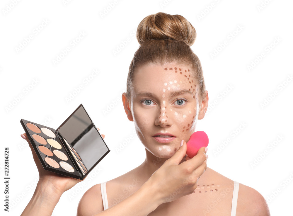 Fototapety, obrazy: Makeup artist working with model on white background