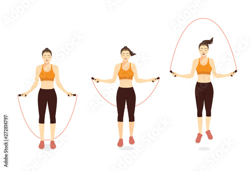 Obraz Woman doing Exercise with speed jumping rope in 3 step. Illustration about workout with lightweight equipment. - fototapety do salonu