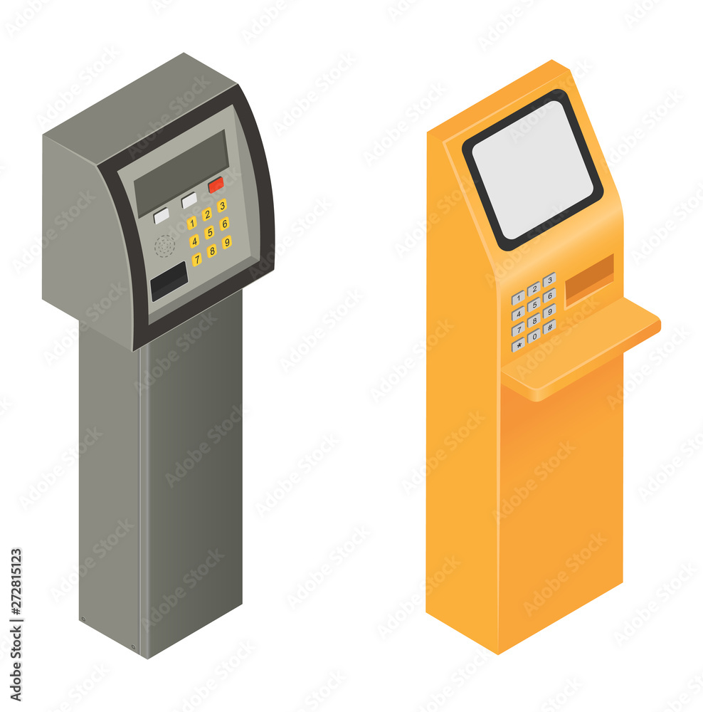 Fototapeta Payment machine vector pos banking terminal for credit card to pay atm bank system machining for paying cardreader in store illustration isometric set isolated on white background
