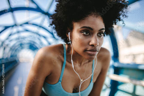 Motivated and focused woman runner