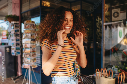Photo  Cheerful curly hair girl