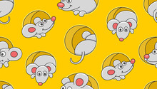 Seamless Pattern With Mouses. Isolated On Yellow Background