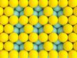Leinwandbild Motiv 3d image render of blue and yellow spheres