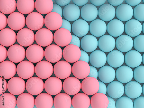 3d image render of blue and pink spheres