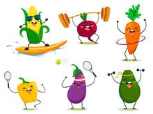 Funny Cartoon Style Vegetables Do Sports. Vector Isolates