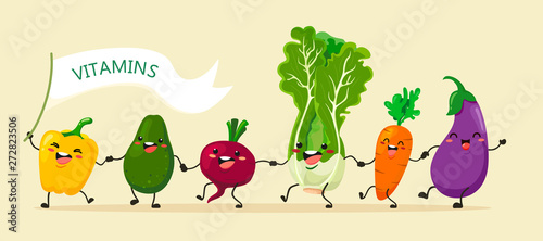 Funny vegetables go hand in hand after each other. Vector vegetable isolates in a cartoon style. Vitamins