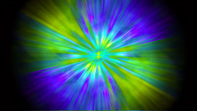 Bright Rays Of Light In Violet, Green And Yellow Shine From The Center Forming A Circle On A Black Background.
